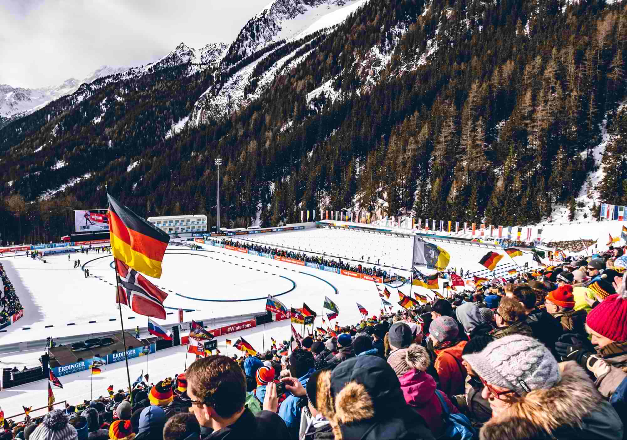 Crowded biathlon stadium in Italy