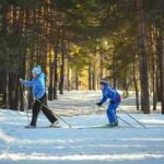 Family cross-country skiing